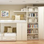 smart home ideas with bunk bed and large bookshelf and closet plus chest of drawer with table lamp and wooden floor
