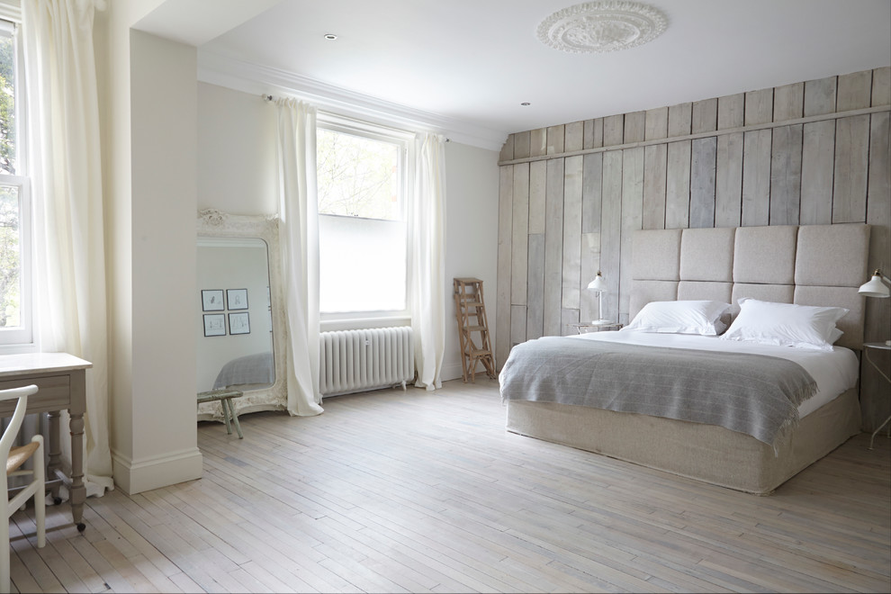 Soft And Luxurious White Washed Wood Planks Floor For Primary Bedroom A King Bed Furniture With