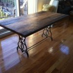solid wood desk table tops in rectange shape and medium size with contemporary style metal feets