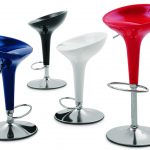 sophisticated bar stool design for modern need with glossy material in vearious colors with round metal footrest and plate stainless steel base