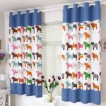 stunning blue animal printed curtain design on glass window with white metal rod with tulips decoration