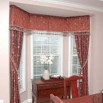 stunning-cool-nice-great-drapes-for-bay-window-with-red-soft-cloth-design-with-some-flowery-decoration-for-small-window