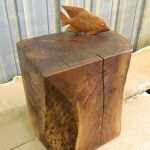 stunning rectangle natural tree stumps side table design with fish decoration on the countertop