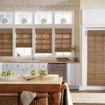stunning window treatments nyc in modern kitchen with woven wood blinds on the windows and door combined with white cabinets island and wooden countertops