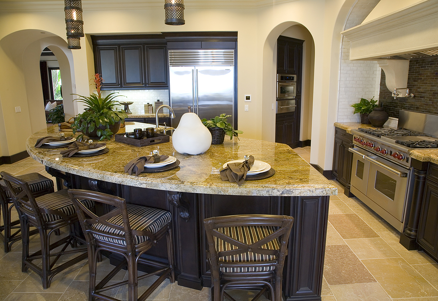 Stylish Kitchen Remodeling With Cabinets Plus Curved Island Marble Countertop And Plant Pot Cool