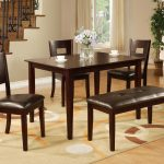 traditional dining table with wooden formal rectangle dining table with cowhide chairs with tall wooden backrest with single bench upon cream patterned rectangle modern area rug
