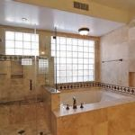 Translucent Walk In Shower Combined With Large French Windows And Fetching Alcove Tub Under Long Metal Handle