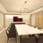 trendy conference room designs decorated with extensive large table and strong brown eames chairs under luxury chandelier  mixed sheer curtain and two tones wall