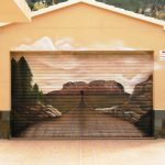 Unique Garage Doors With 3d Mural Panorama Combined With Pastel Wall Scheme Plus Marble And Tile Floor