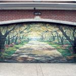 Unique Garage Doors With Elegant Painting With Wooden Material In Brick Wall Combined With Plant Pot And Hard Floor