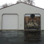 unique garage doors with tank picture on door with double rolling door style combined with white wall