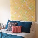 unique patterned-canvas headboard  colorful decorative pillows in different size