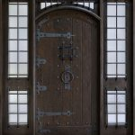 Unique Single Front Door Design With Solid Darkwood Combined With Glass Windows On The Sides