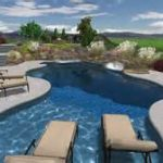 very long swimming pool design with curve style and spacious concrete deck idea with several pool chairs beenath blue sky and aside greenery