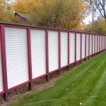 vinyl fence system in white panel and black red frame for backyard