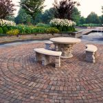 virginia brick paver patterns for patios in herringtone pattern and running bond variation in circular edge and chairs at the center plus garden