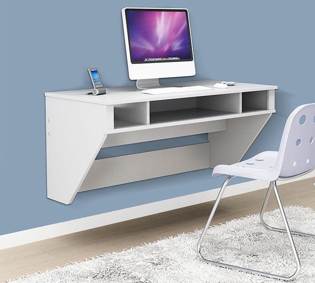 Wall Mounted Table For Computer With Some Segments Of Shelves A And Smartphone White Floating Desk Ikea
