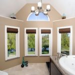 window replacement for bathroom with fixed picture windows with bathtub and chandelliers