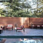 wood horizontal fencing in backyard comforatble patio furniture sets an outdoor pool