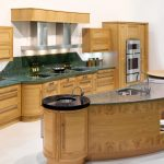 wooden curved kitchen island with granite countertop plus led lighting and sink microwave