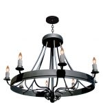 wrought solid iron  pendant chandelier in black color