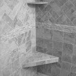 Grey granite tiles for bathroom two units of corner floating permanent shelves