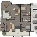 Home's floor plan in 2D with large cart port for three units of car and front porch