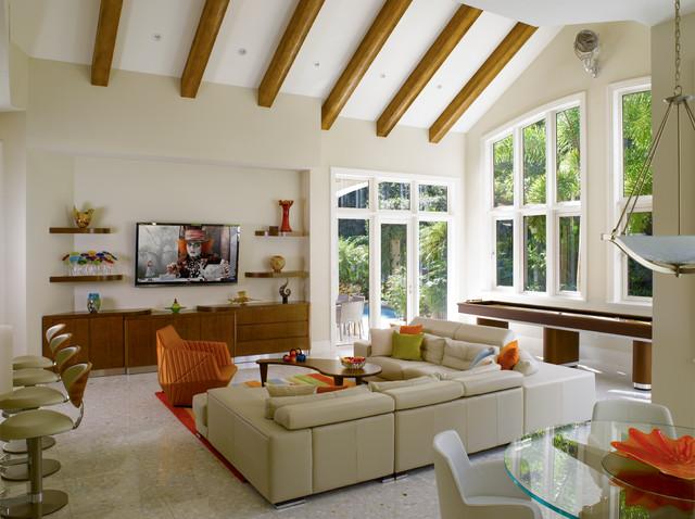 Key West Home Interior Design With L Shape White Sofa Wood Table Minimalist Media