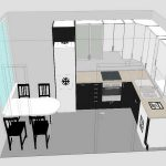 Kitchen floor plan in 3D without tone colors designed by virtual Home Depot kitchen design tool