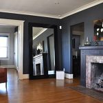 Modern-cool-black-nice-Craftsman-Living-Room-Design-with-Minimalist-Furniture-at-the-Craftsman-home-with-Fireplace-and-Tree-Wall-Decal