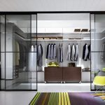 Modern minimalist closet organizer plan for garments with sliding glass door made by closet planner software