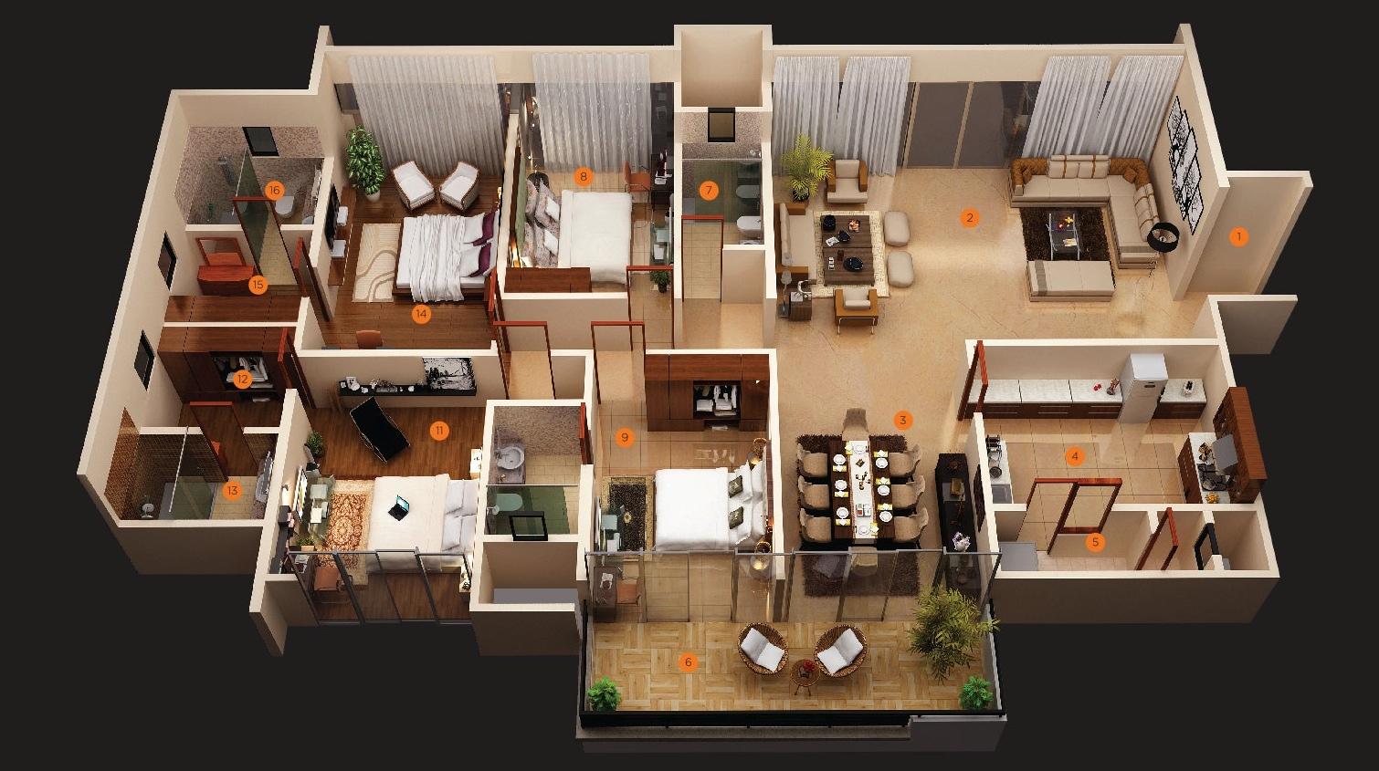 Multi Family Floor Plans In Model Describing Four Bedrooms Large Open E For Living Room