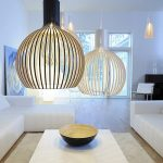 Simple but elegant pendant lamps in a minimalist living room