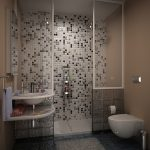 Simple but elegant shower space with black and white tone color mosaic tiles for wall system and white ceramic tiles floor system a floating small sink plus faucet with mirror
