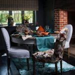 a set of dining furniture in country style natural patterns dining chair two white dining chairs blue rug for dining room round dining table