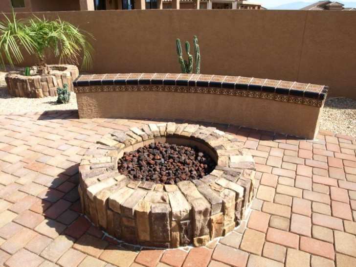 Accesories Decors Exterior Rounded Fire Pit With Concrete