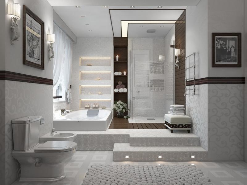 Addorable White Bathroom Idea With Corner Walk In Shower With Staircase And  Modern Lighting And Wall