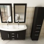Adorabel Cool Modern Nice Double Sink Vanity With Black Coloring Concept And White Sink Design With Large Mirror