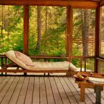adorable forest sunroom design with swinging bed design with white bolsted and wooden coffee table upon wooden floor
