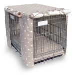 adorable gray polka dot patterned cover for metal fancy dog crates with rolled door