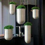 adorable modern stainless steel tube potted greenery with stunning rope in the kitchen with pendants look