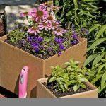 adorable tan concrete planter boxes design with colorful decorative plants aside lush vegetation