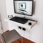 adorable white small slim computer desk design beneath white wall with simple gray chair idea