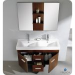 Amazing Coon Nice Perfect 48 Inches Wenge Brown Modern Double Sink Bathroom Vanity With Mirror