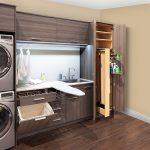 amazing cream laundry room design with broom closet design and washer and dryer cabinet with wooden cabinet with ironing board upon wooden floor