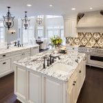 amazing kitchen remodeling northern va with white wooden kitchen cabinets and marble countertops plus sink with vintage faucet and chandeliers plus hardwood floor