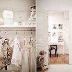 amazing walk in closet with white shelf with stainless steel hanging rod combined with big white wooden cabinets and beautiful ornaments on shelf