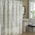 amazing white leave patterned bed and bath shower curtain design with freestanding sink and metal black table beneath glass window with greeenery