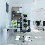 amazing white washed flooring idea with slim computer desk design with black leather swivel chair with storage beneath glass window with drape