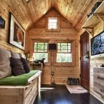 Astonishing Sheds Turned Into Homes With Wooden Barn Wall Plus Wooden Daybed With Cushion And Hardwood Floor Plus Windows And TV And Painting